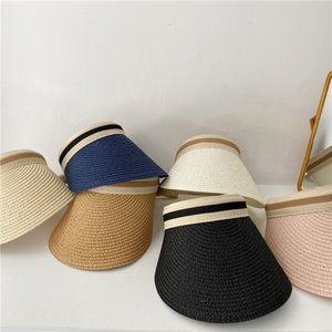 Simple Summer Straw Hat Sun Hand Made DIY Straw Visor Caps parent-enfant Été Cap Ombre Casual Hat Top Plage Vider