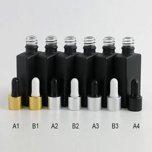 탬퍼 분명 드롭퍼 1온스 검은 액체 유리 저장 스포이드 용기와 30ML 프로스트 블랙 플랫 광장 유리 병