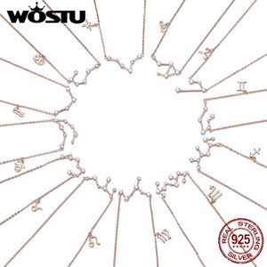 WOSTU Moda Doce constelación 925 de plata esterlina de oro rosa colgantes de los collares para las mujeres Gargantilla largo DAN013 joyería de la cadena