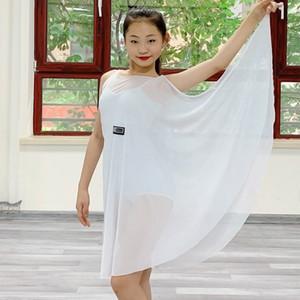 Competição Professional Latin Dance Traje para meninas Branco Fios Net Vestidos Crianças Rumba Cha Cha Samba Tango DN6333 Dancing Stage Wear