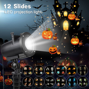 12 Switchable Slides Laser Projector LED Party Anime Pattern Projector Lamp for Christmas Halloween KTV Lights IP65 Waterproof