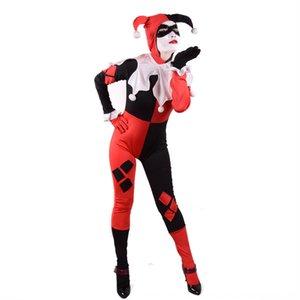 HarleyQuinn هاري كوين خدمة مهرج الأدوار خدمة مسرحية زي زي لعب الملابس هالوين بذلة 3tqzl