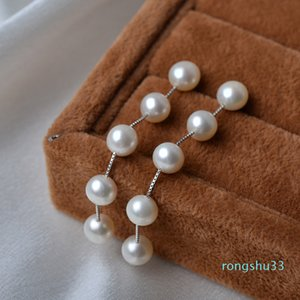 Hot Sale ASHIQI Real 925 Sterling silver dangle earrings , tassel long Natural Freshwater pearl earrings Jewelry