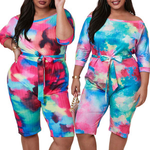 Plus Size Slash Neck Jumpsuits Multicolored Tie-dye Printed Half Sleeves Fashion Lady Party Rompers Knee Length Summer L--3XL