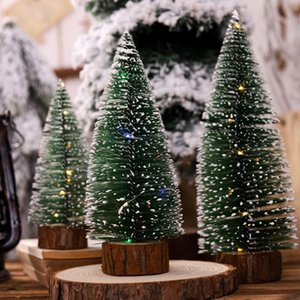 Christmas Tree with White Cedar Standing LED Light Desktop Small Ornaments Decoration For Home Party Decoration