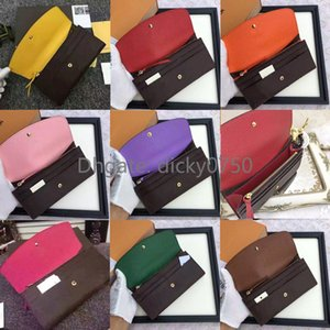 Newest designer wallet for women long purse polychromatic money bag zipper pouch multicolour coin pocket note compartment coin purse lOP