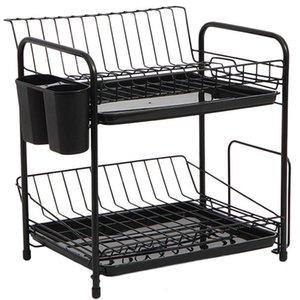 Ванная комната хранения организации блюдо стойки набор 2-уровня кухня организатор инструменты тарелка ложка кадра стальной сливной чаша полка