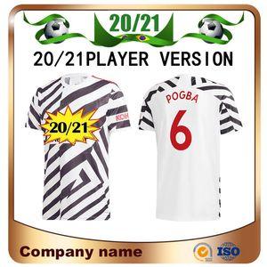 20/21 Manchester Player Version United Üçüncü Uzakta Futbol Forması 2020 Pogba Martial Rashford Futbol Gömlek B.Fernandes Lingard Futbol Unifor