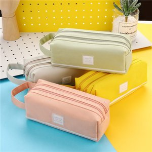 Large capacity canvas pencil case double school pencil case stationery bag storage bag