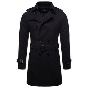 Escudo AOWOFS invierno de los hombres de lana abrigos guisante Negro para hombre abrigo corto capas de foso doble de pecho masculino guisante de alta calidad de la lana Ropa