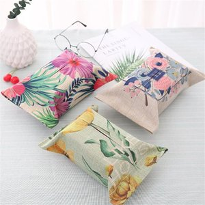 Hot Cotton Linen Printed Tissue Boxes Toilet Paper Napkins Tissue Cover Container Car Home Office Bathroom Paper Box Case Decor