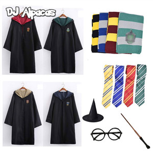 Robe Cape Cloak With Tie Scarf Wand Potter Glasses Hermione Costume Adult Potter School Cosplay Haloween Costumes Accessories CX200817
