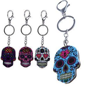 Bohemia Skull Keychain 5 Colors Halloween Keyring Skeleton Metal Pendant Key Chain Halloween Novelty home tools Novelty Items DHL WX9-1714