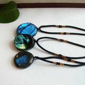 New Fashion Natural Irregular Dragons Heart Stone Labradorite Pendant Necklace For Women Men Energy Stone Yoga Necklace