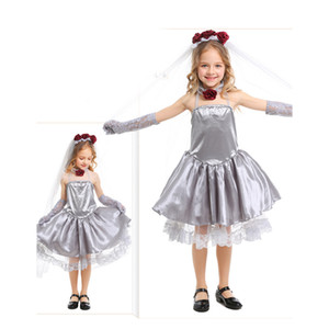 Halloween Children cosplay Ghost bride Silver gray dress make up prom Dress Performance