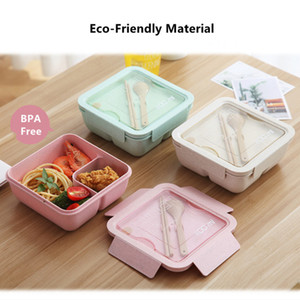 1100ml Wheat Straw Lunch Box Large Capacity Healthy Material Bento Boxes Microwave Dinnerware Food Storage Container Lunchbox Cl200920