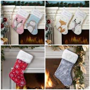 2020 Christmas Stocking Christmas party Decoration Xmas kids candy bags Cute fox Penguin Xmas socks kids party favor gift T9I00503