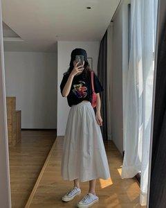برعم النساء تنورة الفستان والصيف منتصف طول ارتفاع الخصر التخسيس الأبيض خياطة كل مباراة فستان عارضة خط أ-
