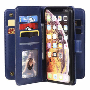 Béquille de luxe en cuir PU Wallet Case pour iPhone XS Max Flip Folio Card Machines à sous poches Purse pour iPhone 11 7 8 plus