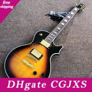 Personalizado Fabricantes atacado Melhor Preço, Guitarra eléctrica New Custom, New Tiger Flame Top Guitarra .Alta Qualidade Pickups .Mahogany guitarra Woo