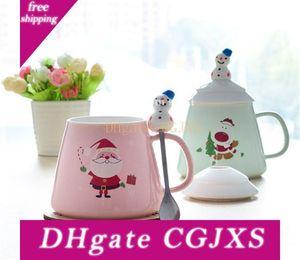 Sıcak kahvaltı Süt Kupası Sevimli Çömlekçilik Ve Porselen Noel Coffee Cup Kapak Kaşıklı