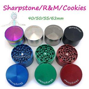 Yüksek Kaliteli Sharpstone Bitkisel Öğütücü Metal Zamak Tütün Bitkisel Öğütücüler 4 Katmanlar 40/50 / 55 / 63mm Çap 7 renk gökkuşağı OEM logosu