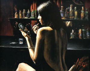 "FABIAN PEREZ ""ANNA NO BAR"" 2009 Home Decor Artesanato / HD impressão pintura a óleo sobre tela Wall Art Canvas Pictures 200808"