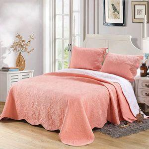 Arancio Copriletto per Bed Quilts Set 3pcs Solid ricamato Cotone Coverlet trapuntato copriletto re Queen Size Estate Blanket