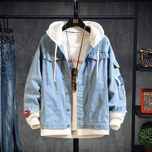 2020 Hooded Denim Jacket Men's Hip Hop Jeans Coat Retro Jean Jacket Street Casual Bomber Outerwear Hoodies