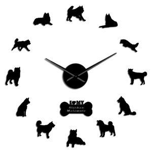Filhote de cachorro tapeçaria Time Clock Alaskan Malamute Cães parede Longo Mãos parede Frameless Mally Decor Art Big Assista Posturas znIyp homes2011