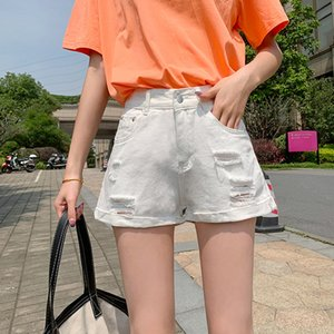 Wholesale 2020 Denim teenagers girls Cotton high waist ripped denim shorts female summer Korean new loose A-line shorts women