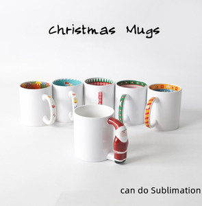 DIY Sublimation 11oz Ceramic Mugs with Santa Claus Handle 320ml White Blank Ceramic Mugs Colorful Inner Coating Cute Christmas Water Bottles