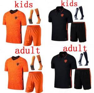 homens crianças 20-21 Holanda Futebol DE JONG Wijnaldum Holanda VIRGIL kits de futebol da camisa 2020 2021 meninos Strootman MEMPHIS estabelecidos uniformes