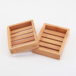 100pcs llegada platos de jabón portable creativa sencilla de bambú caja de jabón de baño baño de drenaje manual de estilo japonés jabón FWF931