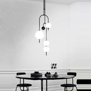 Postmodern LED en verre noir blanc BubbleDesigner Lustre Lustre Suspension Luminaire Lampen Pour Dinning Room AC 90-260V