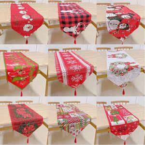 Table de Noël en tissu Drapeau-fils teints Père Noël Table Cushion Banquet Décoration Couverture Table brodé Décoration de Noël Couvre AHF847