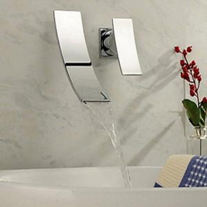 Wholesale - Vente en gros et de détail Livraison Gratuite Wall Montage Waterfall Waterfall Bassin Bassin Robinet Simple Poignée Small Mitigeur Tap Chrome UVHQ #