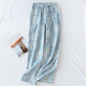 Женщины Пижама Брюки хлопок марлевых Главные штаны Печать в японском стиле Сыпучего Wide Leg Sweatpants Женщины пижама