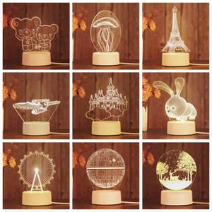 Creative Night Light Led 3D Bedroom Decoration Small Table Lamp Romantic Colorful Pattern Bedroom Decoration Gift Home Decor Lamp AAD1986