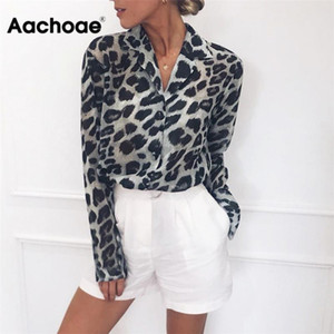 Aachoae Blusa Vintage Long Sleeve leopardo blusa Vire Escritório Collar Camisa Túnica casual tops Plus Size soltos Blusas 200922