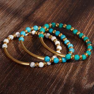 Nuevas mujeres de moda chapado en oro Turquesa Beads encantos pulseras Bohemia de acero inoxidable Bohemia Brazaletes con cuentas para mujer Regalo de joyería
