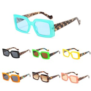 New Style Party Frame Colorful Modern Sun Glasses Cool Pink Leopard Small Thick Frame Male Women's Fashion Sunglasses