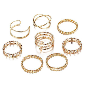 8 Pcs set Vintage Knuckle Geometric Joint Ring Set for Women Boho Personality Design Style Finger Rings Bohemian Jewelry