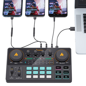 MAONO AM200 Rechargeable Microphone Mixer Digital Audio Podcast Sound Card for Phone Computer PC