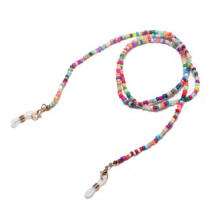 Pu4Mn способ высокого качества ручной смешанного цвета риса бусины Glasses цепь очки веревка маска цепь
