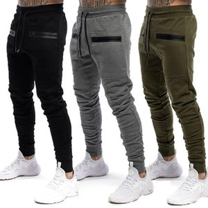 New Cotton Men Sweatpants with Towel Rack and Cell Phone Pocket Running Tights Pants Men Sporting Leggings Workout Pants