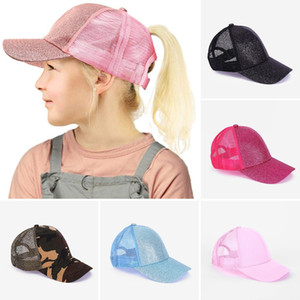 Kids Glitter Ponytail Ball Cap Sequin Baseball Hat Plain Visor Caps Girl Messy Bun Summer Hats Adjustable Hip Hop Snapback KHA543