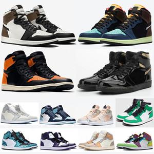 Разводят 1 High OG Баскетбольная обувь UNC Лаки Зеленый Obsidian Bio Hack Бесстрашный Разрушенные Backboard Black Toe 1S Мужские Спортивные тренажеры кроссовки