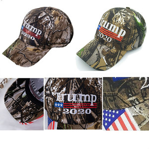 Новый Camo Дональд Трамп 2020 Hat Make America Great MAGA Caps USA Flag 3D Вышивка Письмо Камуфляж Mens бейсболку для женщин FWA745
