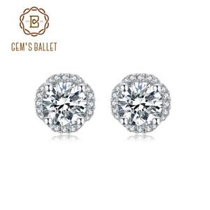 GEM Ballet 925 Sterling Silver Jewelry Moissanite 5,0 millimetri 1.0Ct D Colore Moissanite Diamante Orecchini per le donne di nozze